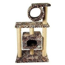Зооник Дом для кошек 2-х этажный с трубой (фото, вид 1)