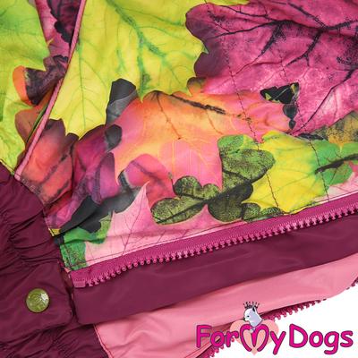 ForMyDogs Дождевик для крупных собак Листья бордовый для девочек (фото, вид 1)