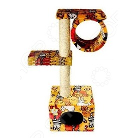 Зооник Домик-когтеточка с 2-мя площадками и трубой (фото, вид 2)