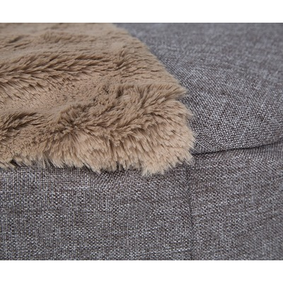 Lion Лежанка пухлик для собак Релакс коричневая (фото, вид 1)