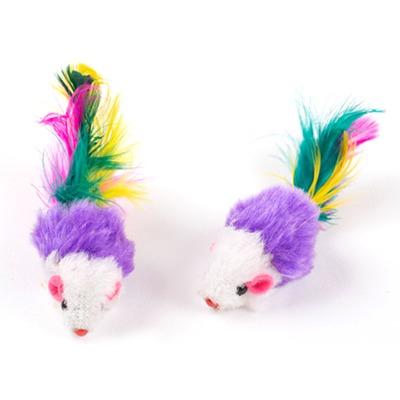 Антицарапки Игрушка для кошек Мышка-погремушка цветная с перьями (фото, вид 1)