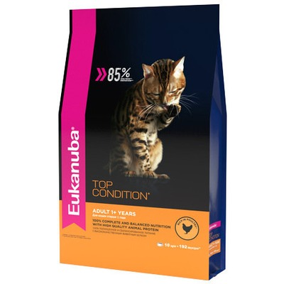 Eukanuba Сухой корм для кошек с домашней птицей. Adult top condition (фото, вид 1)