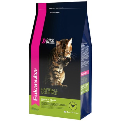 Eukanuba Сухой корм для вывода шерсти из желудка с домашней птицей для кошек. Adult hairball/indoor (фото, вид 1)