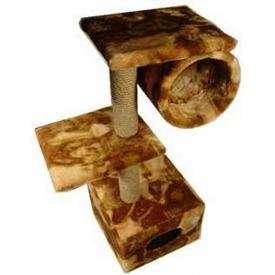 Зооник Домик-когтеточка с 2-мя площадками и трубой (фото, вид 1)