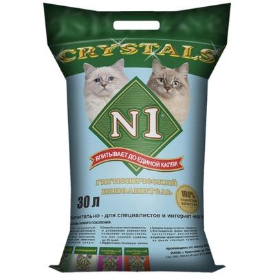 №1 Наполнитель кошачий Crystals силикагелевый голубой (фото, вид 2)