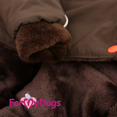 ForMyDogs Комбинезон теплый на девочку Рябинушка коричневый с капюшоном (фото, вид 2)