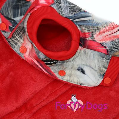 ForMyDogs Куртка для больших собак Перышки со съемным капюшоном (фото, вид 1)