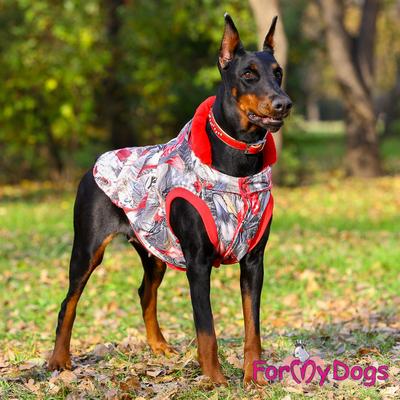 ForMyDogs Куртка для больших собак Перышки со съемным капюшоном (фото, вид 2)