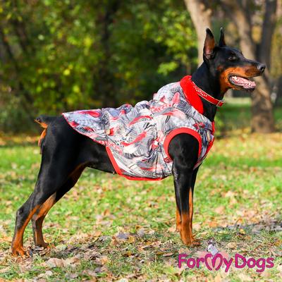 ForMyDogs Куртка для больших собак Перышки со съемным капюшоном (фото, вид 3)