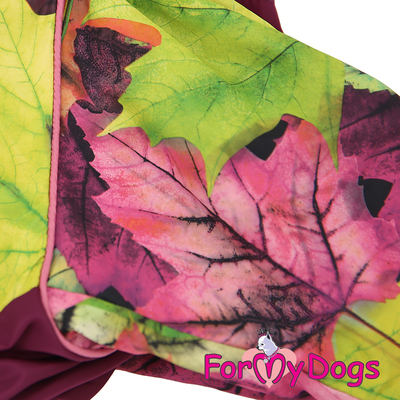 ForMyDogs Дождевик для крупных собак Листья бордовый для девочек (фото, вид 3)