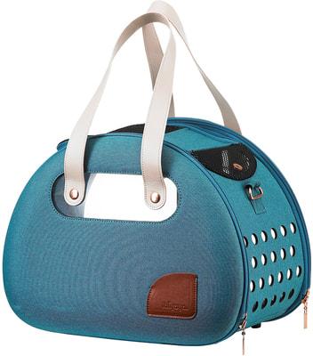 Ibiyaya Складная сумка-переноска для собак и кошек до 6 кг прозрачная/бирюзовая (фото, вид 1)