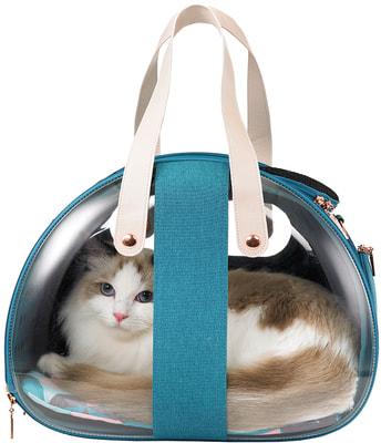 Ibiyaya Складная сумка-переноска для собак и кошек до 6 кг прозрачная/бирюзовая (фото, вид 2)