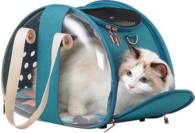 Ibiyaya Складная сумка-переноска для собак и кошек до 6 кг прозрачная/бирюзовая (фото, вид 4)