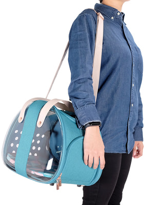 Ibiyaya Складная сумка-переноска для собак и кошек до 6 кг прозрачная/бирюзовая (фото, вид 6)