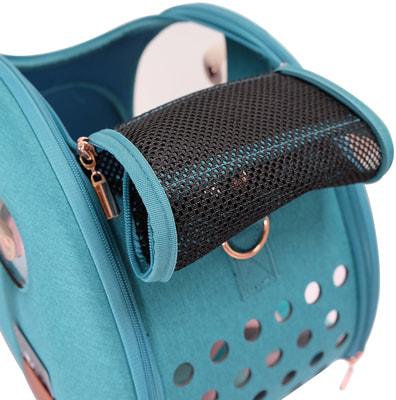 Ibiyaya Складная сумка-переноска для собак и кошек до 6 кг прозрачная/бирюзовая (фото, вид 9)
