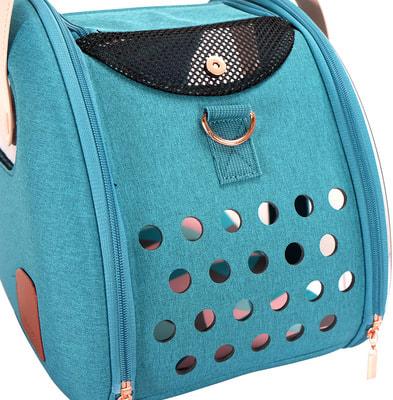 Ibiyaya Складная сумка-переноска для собак и кошек до 6 кг прозрачная/бирюзовая (фото, вид 10)