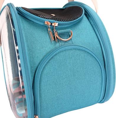 Ibiyaya Складная сумка-переноска для собак и кошек до 6 кг прозрачная/бирюзовая (фото, вид 11)