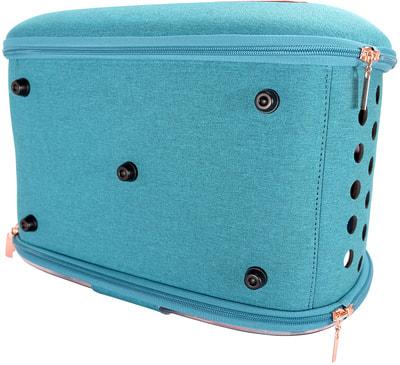 Ibiyaya Складная сумка-переноска для собак и кошек до 6 кг прозрачная/бирюзовая (фото, вид 13)