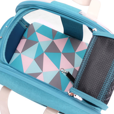 Ibiyaya Складная сумка-переноска для собак и кошек до 6 кг прозрачная/бирюзовая (фото, вид 14)