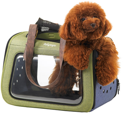 Ibiyaya Складная сумка-переноска для собак и кошек до 6 кг прозрачная/зеленая (фото, вид 1)