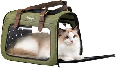 Ibiyaya Складная сумка-переноска для собак и кошек до 6 кг прозрачная/зеленая (фото, вид 2)