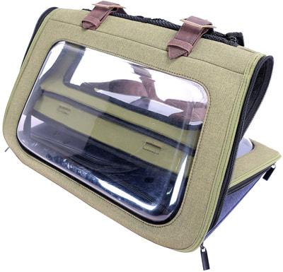 Ibiyaya Складная сумка-переноска для собак и кошек до 6 кг прозрачная/зеленая (фото, вид 3)