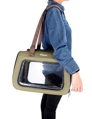 Ibiyaya Складная сумка-переноска для собак и кошек до 6 кг прозрачная/зеленая (фото, вид 4)
