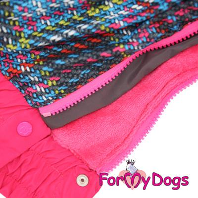 ForMyDogs Комбинезон для крупных собак Серо-розовый, девочка (фото, вид 4)