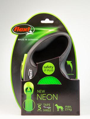 Поводок-рулетка flexi New Neon M (до 25 кг) лента 5 м, зеленый (фото, вид 1)