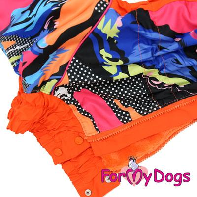 ForMyDogs Комбинезон для больших собак Оранжевый на меху, девочка (фото, вид 3)