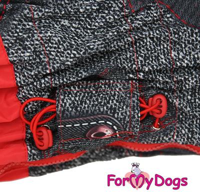 ForMyDogs Комбинезон для больших собак Красно/черный на меху, девочка (фото, вид 2)