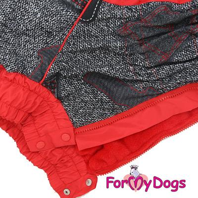 ForMyDogs Комбинезон для больших собак Красно/черный на меху, девочка (фото, вид 3)