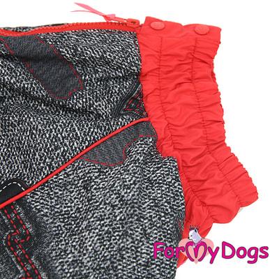 ForMyDogs Комбинезон для больших собак Красно/черный на меху, девочка (фото, вид 4)