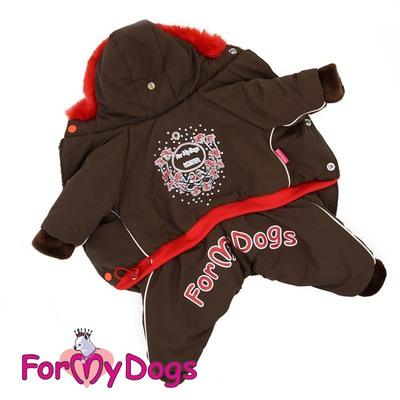 ForMyDogs Комбинезон теплый на девочку Рябинушка коричневый с капюшоном (фото, вид 1)