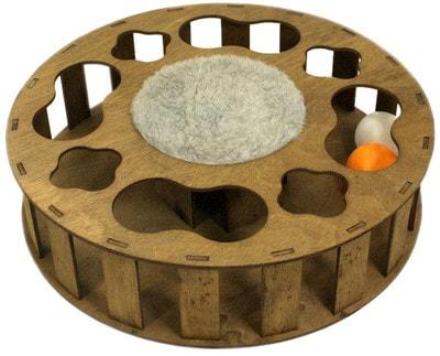 Smartpet Игрушка для кошек интерактивная Трек с мячиком из фанеры 30см (фото, вид 1)