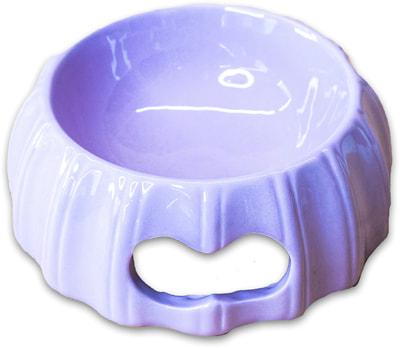 КерамикАрт Миска керамическая с полосками 17х6,5см, лиловая (фото, вид 1)