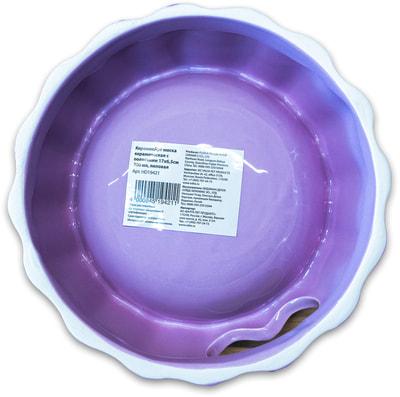КерамикАрт Миска керамическая с полосками 17х6,5см, лиловая (фото, вид 3)