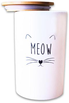 КерамикАрт Бокс керамический для хранения корма для кошек MEOW белый (фото, вид 1)