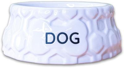 КерамикАрт Миска керамическая для собак DOG белая (фото, вид 1)