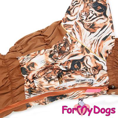 ForMyDogs Теплый комбинезон для больших собак Тигры на мальчика (фото, вид 2)
