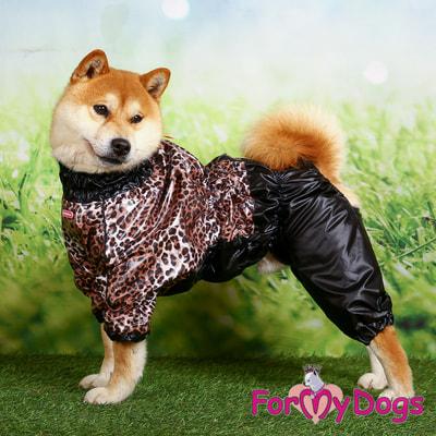 ForMyDogs Дождевик для больших собак Лео черно-коричневый, на мальчика (фото, вид 3)