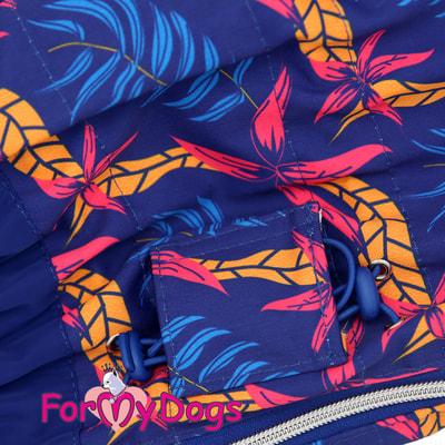ForMyDogs Дождевик для крупных собак Листья синий девочка (фото, вид 2)