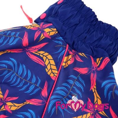 ForMyDogs Дождевик для крупных собак Листья синий девочка (фото, вид 4)