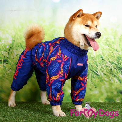 ForMyDogs Дождевик для крупных собак Листья синий девочка (фото, вид 5)