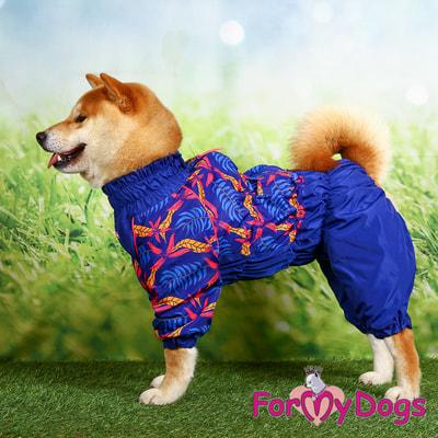 ForMyDogs Дождевик для крупных собак Листья синий девочка (фото, вид 6)