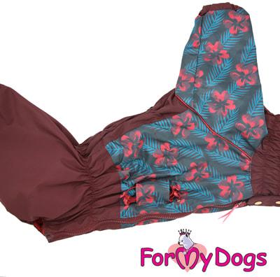 ForMyDogs Дождевик для крупных собак Коричневый на девочку (фото, вид 3)