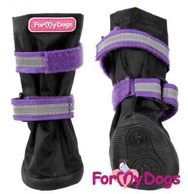 ForMyDogs Сапоги для крупных собак на резиновой подошве Фиолетовые с высоким чулком (фото, вид 1)