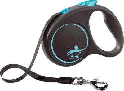 Поводок-рулетка flexi Black Design S, лента 5м, для собак до 15кг (фото, вид 1)