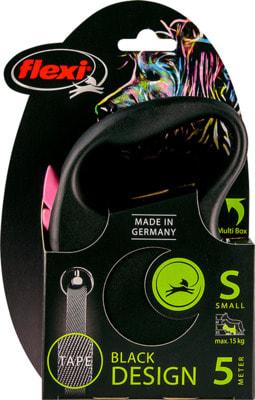 Поводок-рулетка flexi Black Design S, лента 5м, для собак до 15кг (фото, вид 7)