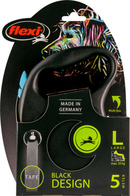 Поводок-рулетка flexi Black Design L, лента 5м, для собак до 50кг (фото, вид 2)